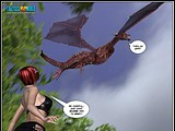 Horny redhead slut is exposed naked to a cruel dragon to fuck!