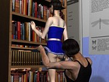 Hot teen cheerleader sucked dick of dude in the library