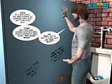 Stunning 3D comics scene of pregnant pissing girl hiding from a hot dude!