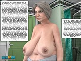 Hot fatty granny enjoys her nude look with big tits in the mirror of bathroom!