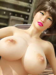 Asian with Giant Tits Shows Her Nude Body Outside