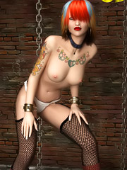 Punk girl with tattoos shows naked body