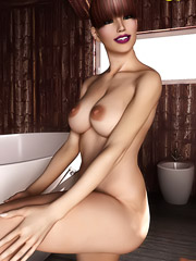 Hot brunette with big nipples poses nude before bath