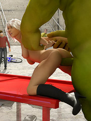 Hunk gets crazy and gives a blonde tons of raw angry boning