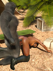 Roaring monkey man rams shaft into a smooth black hottie
