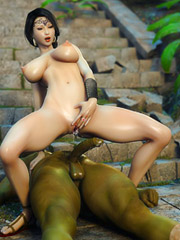 Slutty princess making a magical titjob to a green ork and fucking him nicely
