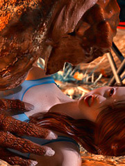 Horny lizard demon gets to plow naughty redhead's orgasmic beaver.