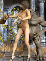 Taking a curvaceous brunette as their prisoner, two ugly orcs want to have some sexy fun with her.