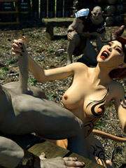 Hungry monsters with huge dicks bang sexy elf in the mysterious forest