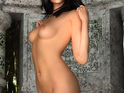 Blue-eyed brunette shows her great naked body
