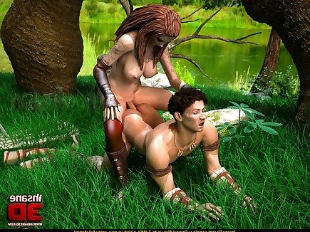 Slutty dickgirl explorer hooks up with a warrior guy